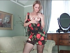 Red flower dress and stockings on hot milf tubes