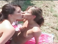 Young lesbians have arousing toy sex outdoors tubes