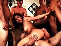 Brunette slut fucked in wild gangbang porn tubes