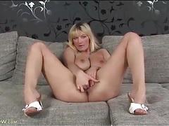 Blonde with a big bush masturbates in solo video tubes