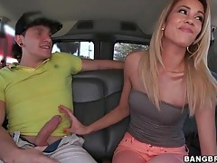 Skinny chick in tube top sucks dick in the car tubes