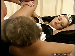 Foxy french maid gives a beautiful footjob tubes
