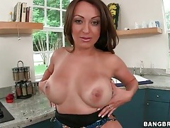 Fantastic fat ass on latina stripping in kitchen tubes