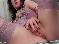 Skinny girl in sexy lingerie masturbates her cunt tubes