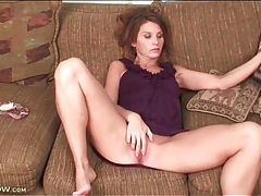 Milf in a cute purple dress masturbates her cunt tubes