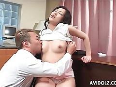 Japanese secretary fingered in wet hairy pussy tubes
