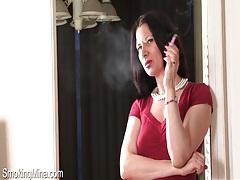 Milf mina smokes and talks naughty to camera tubes