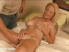 Blonde stripped nude and fucked in hot cunt tubes