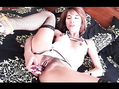 Fishnets and big tits make dildo sex sultry tubes