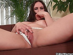 Soccer mom with natural big tits fucks herself with a dildo tubes