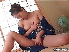 Masturbating japanese girl in a kimono tubes