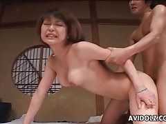 Hard japanese doggystyle fucking with creampie tubes