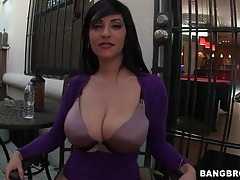 Tight purple sweater on her big natural tits tubes