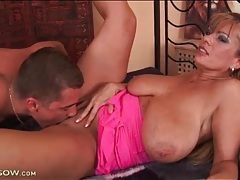 Busty milf teases solo and he eats that pussy tubes