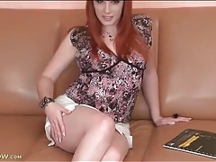 Redhead upskirt tease to show off her panties tubes