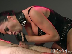 Bdsm xxx slave boy licks mistresses spit from the cage floor before a good beating tubes