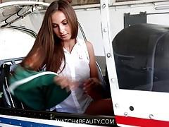 Big tits hottie masturbating on a plane tubes