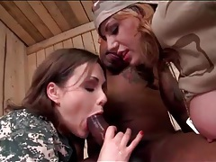 Two army sluts fucked by black cock in threesome tubes