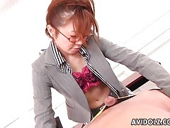 Secretary in glasses and fishnets sucks cock tubes