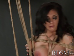 Bdsm xxx russian sub beauty is suspended from the ceiling by master before hardcore orgasm tubes