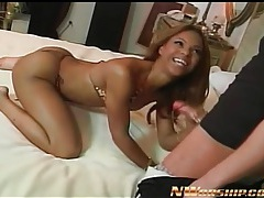 Skinny black girl in sparkly bikini sucks white dick tubes