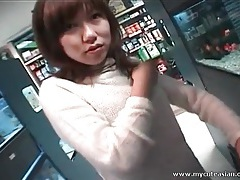 Asian sweater girl sucks dick in back room of store tubes