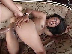 Wet asian pussy sits on thick cock for orgasm tubes