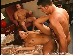 Three cocks fuck all three holes of asian whore tubes