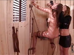 Leather mistress flogs and toy fucks sub girl ass tubes