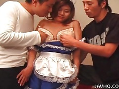 Blue satin maid outfit on cute japanese girl tubes