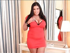 Curvy girl jasmine black looks hot in a tight dress tubes