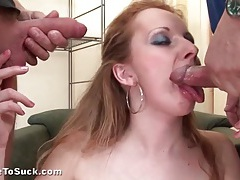 Sexy white corset on girl sucking off two guys tubes
