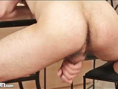 Hairy solo guy masturbates until he cums tubes