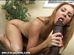 Busty milf janet taking every foot of a big brutal dildo tubes