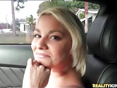 Blonde amateur masturbates and sucks cock in the car tubes
