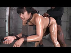 Asian mia li fucked while bent over in bondage tubes