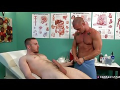 Handjob and cocksucking with his hunky doctor tubes
