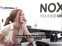 Redhead slut offers anal twice to keep her job tubes