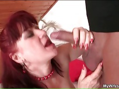 Yummy mature redhead blows him and bends over tubes