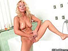 The bathroom is the perfect place for mom to masturbate tubes