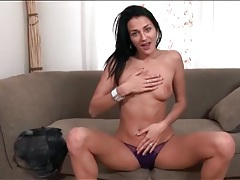 Cute brunette naomi montana strips from her jeans tubes