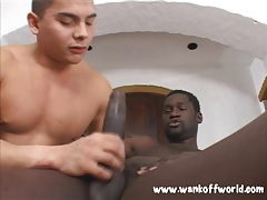 Cute guy sucks and rides monster black cock tubes