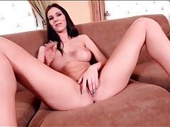 Leggy naked babe has beautiful fake tits tubes