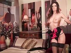 Elegant girl looks hot in pink and black lingerie tubes