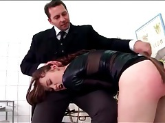 Slut in a tight leather dress spanked on the ass tubes