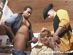 Cowboys make this boy suck their dicks tubes