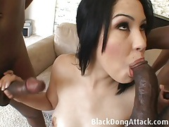 Cutie takes 3 huge black cocks tubes