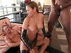 Slutty leather lingerie on asian in threesome tubes