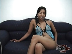 Latina models sexy blue lingerie and her pussy tubes