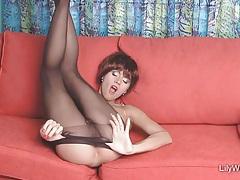 Sexy leggy milf in sjeer black pantyhose tubes
